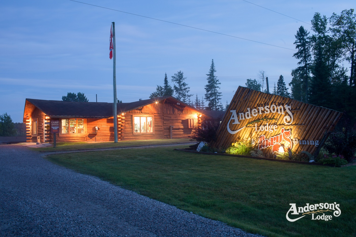 Anderson's Lodge at night