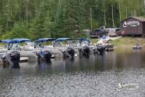 fishing boats docked at Aderson's Lodge